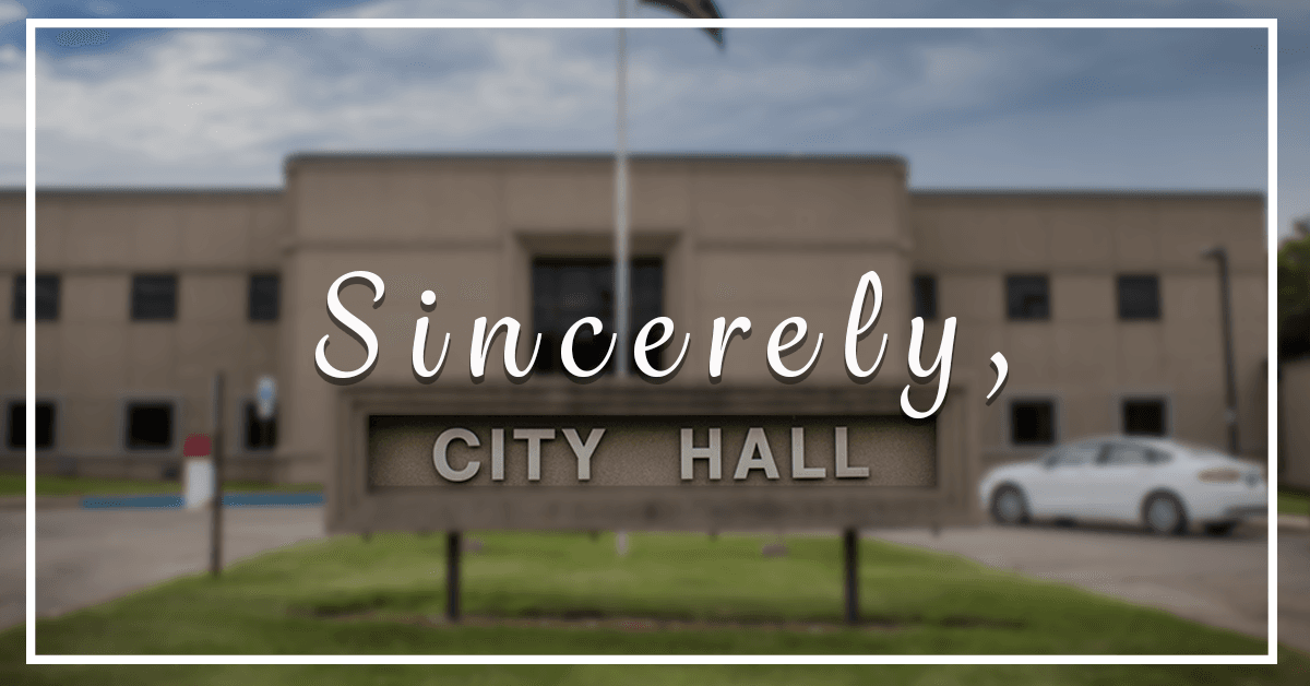 Image of Minot's City Hall with text overlay