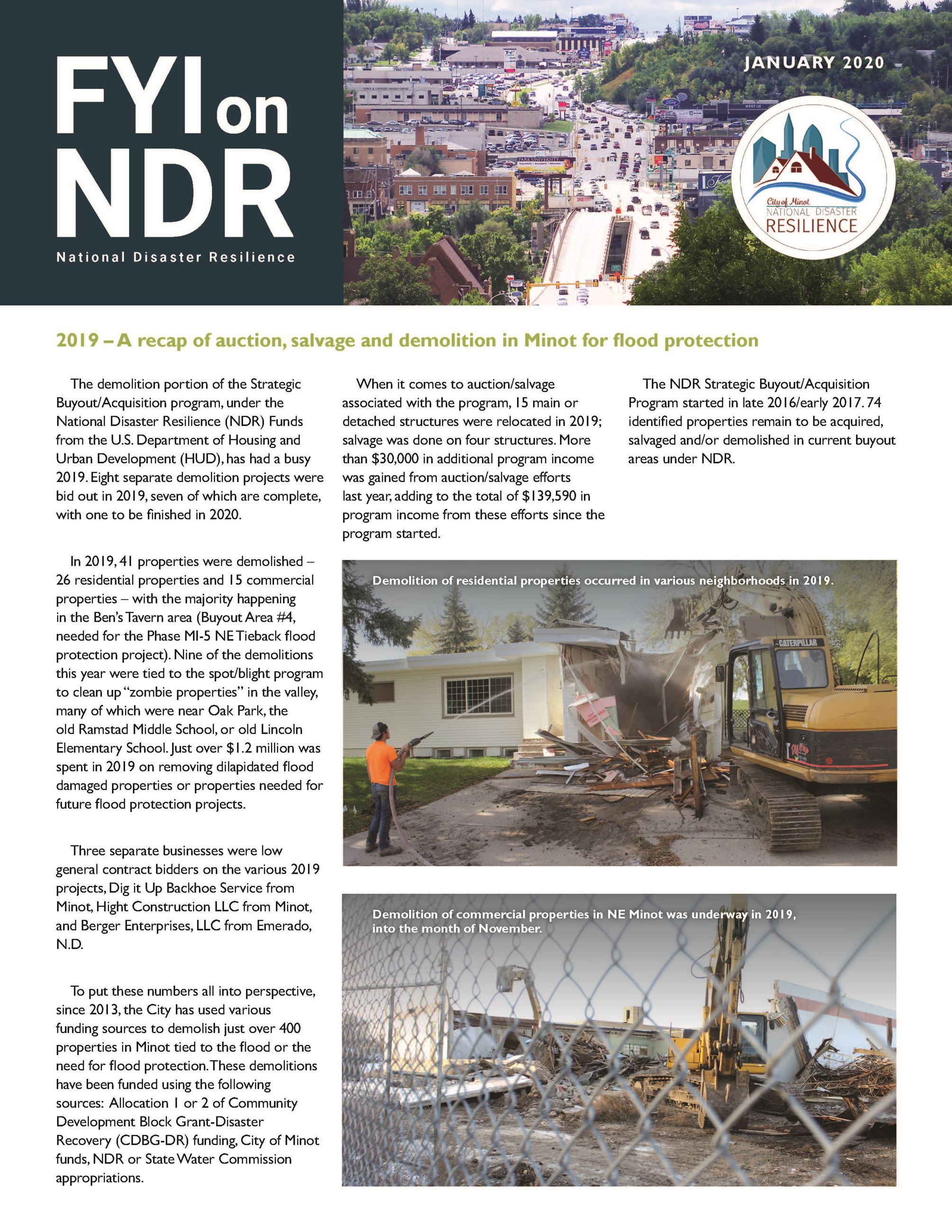 A full page report updating the public on the latest program progress. Pictures include a home being