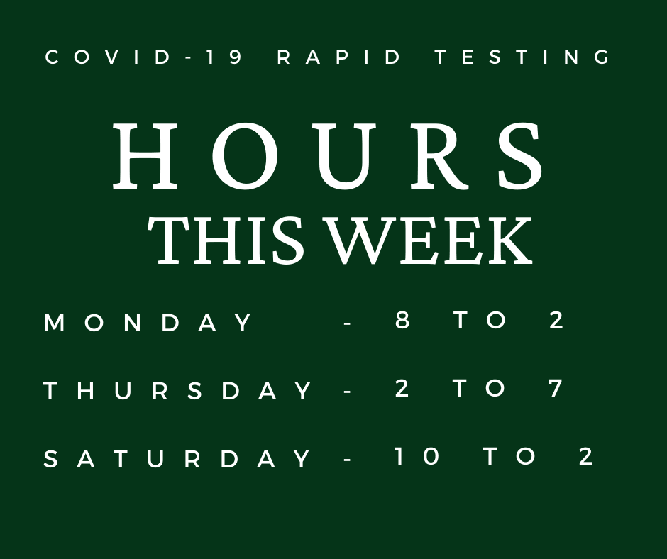 COVID-19 RAPID TESTING HOURS FEB 28